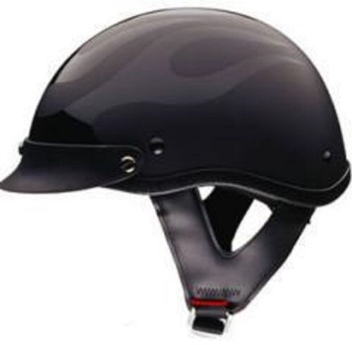DOT FLAT BLACK  FLAME MOTORCYCLE HALF HELMET BEANIE HELMETS SHORTY LIGHTER NEW