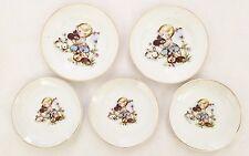White Porcelain JAPAN Child Tea Set Plates Little Girl Design - Lot of 5 Pieces