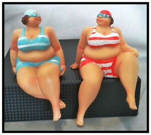 SEASIDE-STATUES-BEACH-SHELF-SITTERS-ORNAMENTS-FAT-LADIES-OCEAN-FIGURUNES-set-2