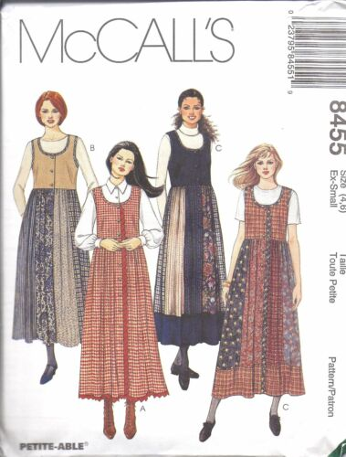 8455 VINTAGE UNCUT McCalls SEWING Pattern Misses Front Button Jumper Gored Skirt
