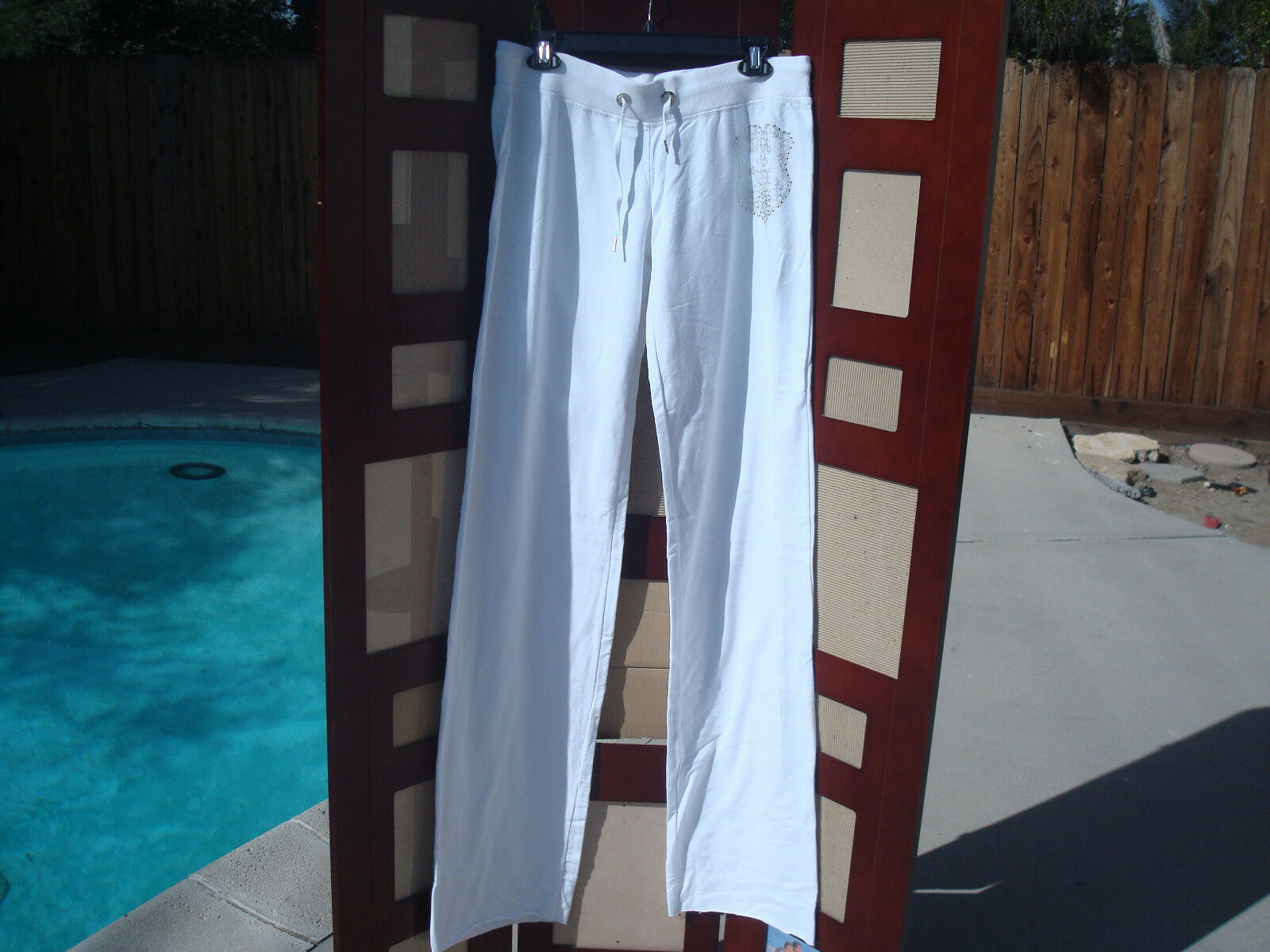 NWT Bebe Logo Bebe White Cotton Women's Sweat Pants Sz L USA
