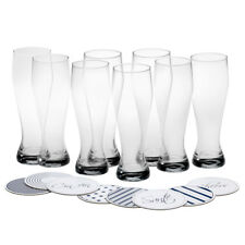 Mikasa Cheers Wheat Beer Glass with Coasters 22-Ounce Set of 8