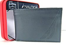 Nautica Mens Slim Leather Passcase Wallet Navy 31NP220004 New NWT $40
