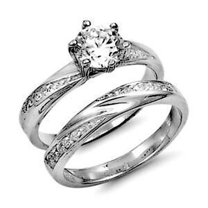 .925 Sterling Silver Ladies Wedding Ring set size 10 Engagement CZ Bridal pw52