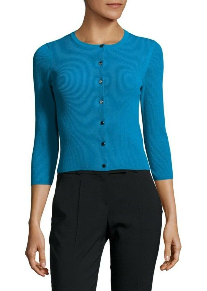 Karen Millen Turquoise Ribbed Cardigan Knitted Slip On Dress Sweater Top 12 40