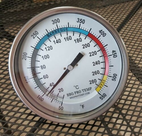 """6/""""  BBQ CHARCOAL GAS ELECTRIC GRILL SMOKER PIT OVEN THERMOMETER GAUGE BPT Wht 4"""