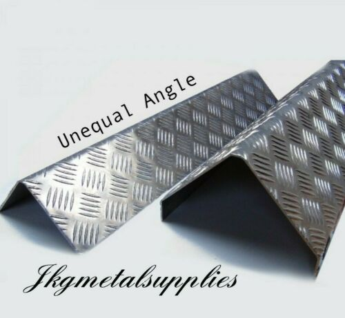 ALUMINIUM checker plate 5 bar UNEQUAL SIDED 90 DEGREE ANGLE Corner Protector