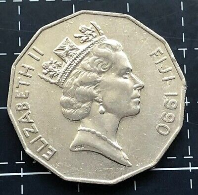 QUEEN ELIZABETH II QEII 1990 FIJI FIFTY CENT 50 CENT COIN LOW MINTAGE EF