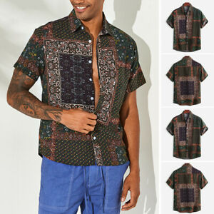 Men/'s Short Sleeve Hawaiian Casual Loose T Shirts Summer Beach Party Cool Blouse