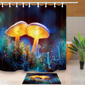 Creative Mushroom Shower Curtain Bathroom Decor Fabric /& 12hooks 71in