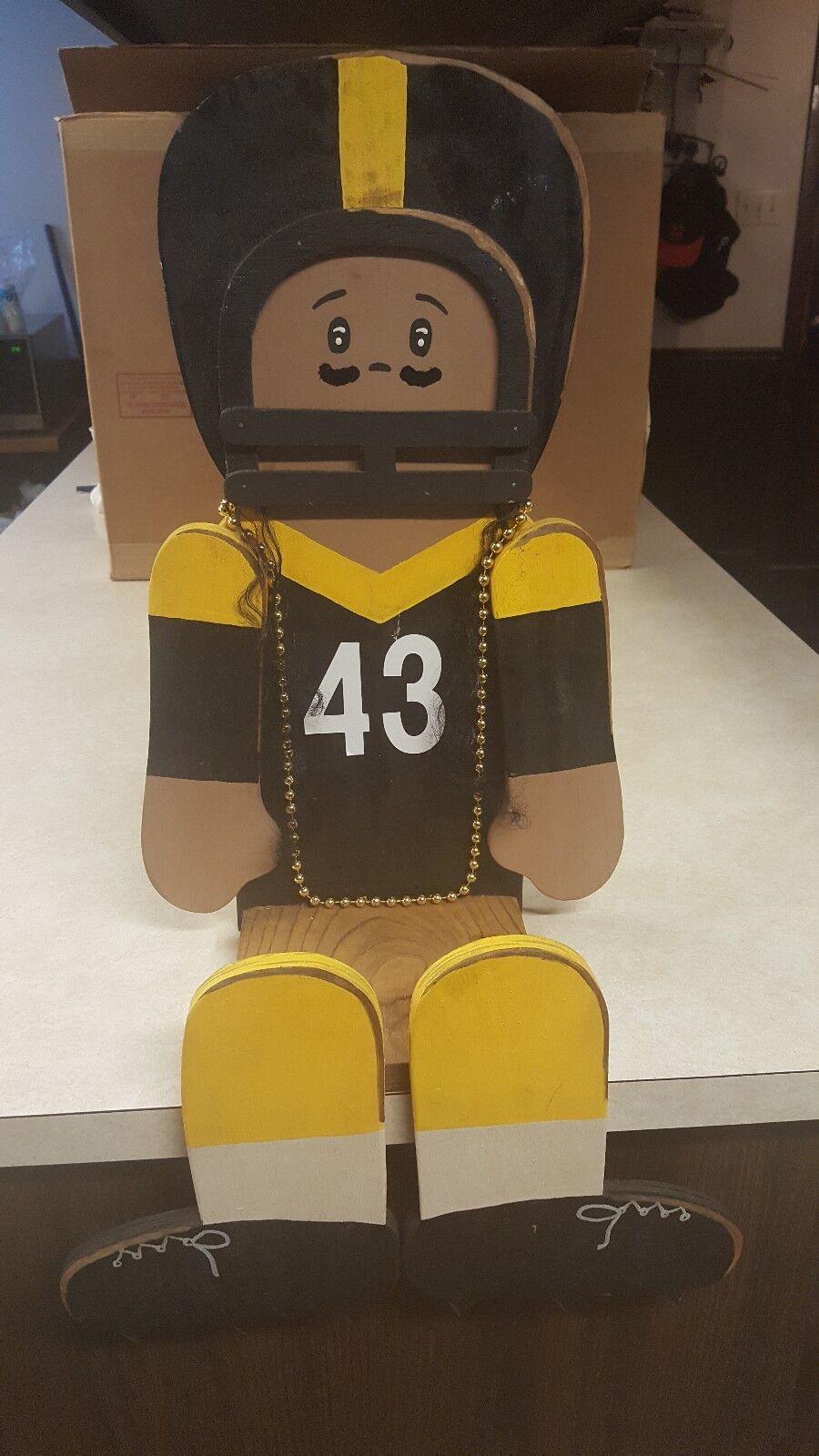 Handmade Wooden Steelers Troy Palamalu Shelf Sitter