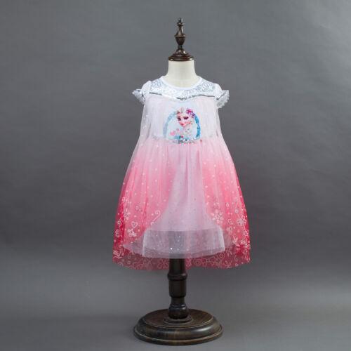 NEW Girls Kids Frozen Queen Elsa Princess Anna blue Pink Party Dress ZG9