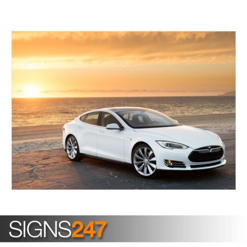CAR POSTER AA451 Poster Print Art A0 A1 A2 A3 TESLA MODEL S IN WHITE AT