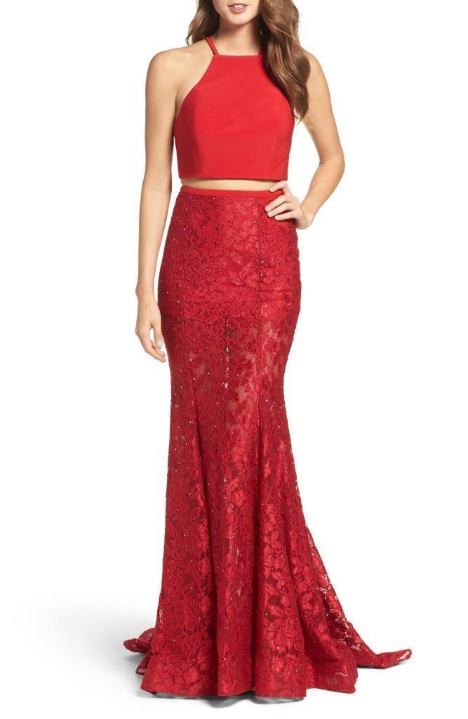 La femme Jersey och Lace Two -Piece Gown - Storlek 10 (F)