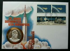 [SJ] USA 25th Anniv In Space 1987 Astronaut Planet FDC (coin cover) *see scan