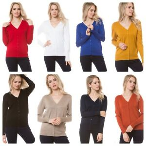 Woman-Soft-Long-Sleeve-Solid-Open-V-Front-Sweater-Cardigan-S-3XL
