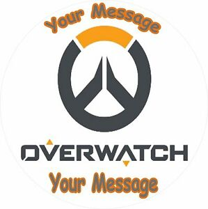 "OVERWATCH LOGO ROUND 7.5"" BIRTHDAY CAKE TOPPER ICING OR ..."
