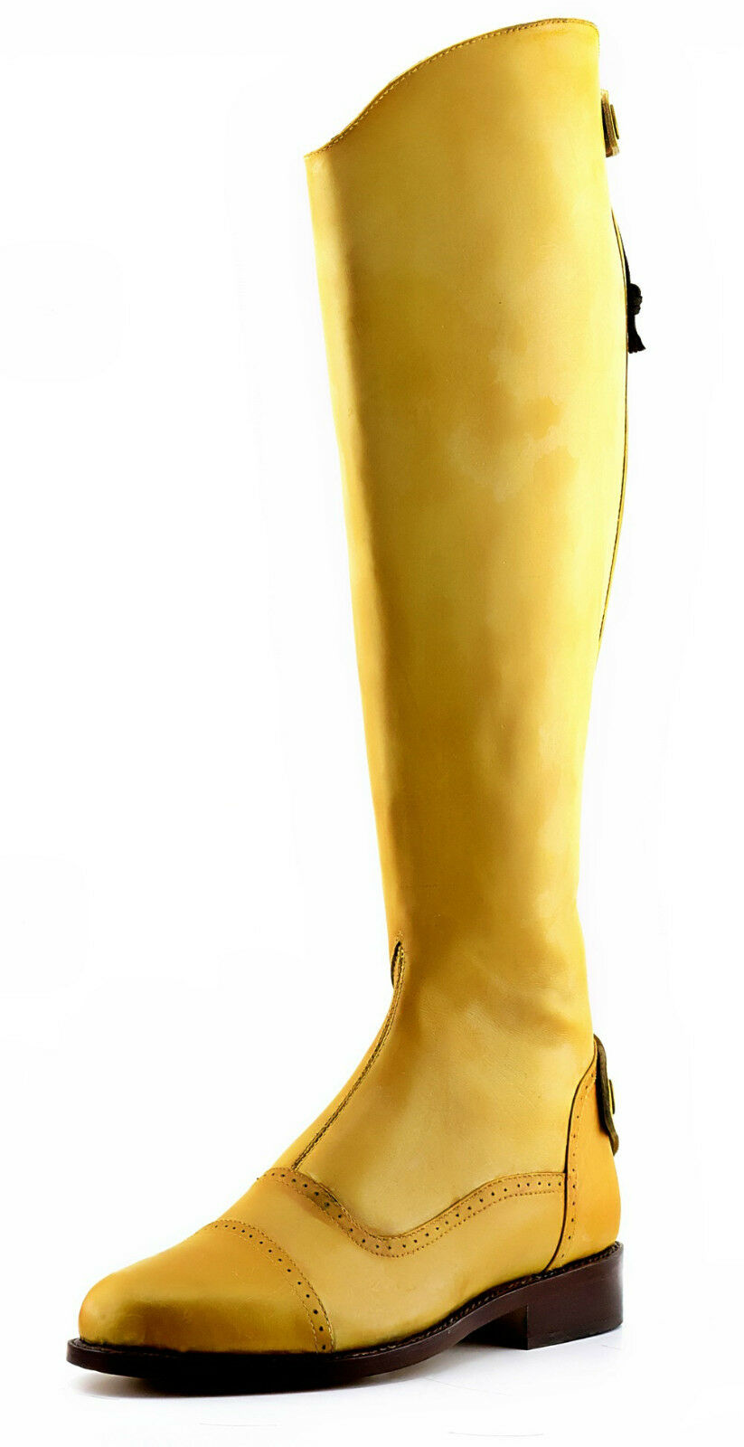 Handmade Two Tone Pale Yellow Elegant Dressage Horse Riding Tall Boot