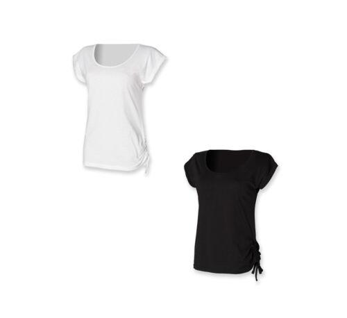 Damen Sommer Top Longshirt Slounge T-Shirt mit Zugband