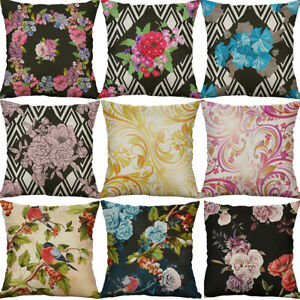 18-034-Cotton-Linen-arnica-Bird-flower-Print-Home-Decor-pillow-case-Cushion-Cover