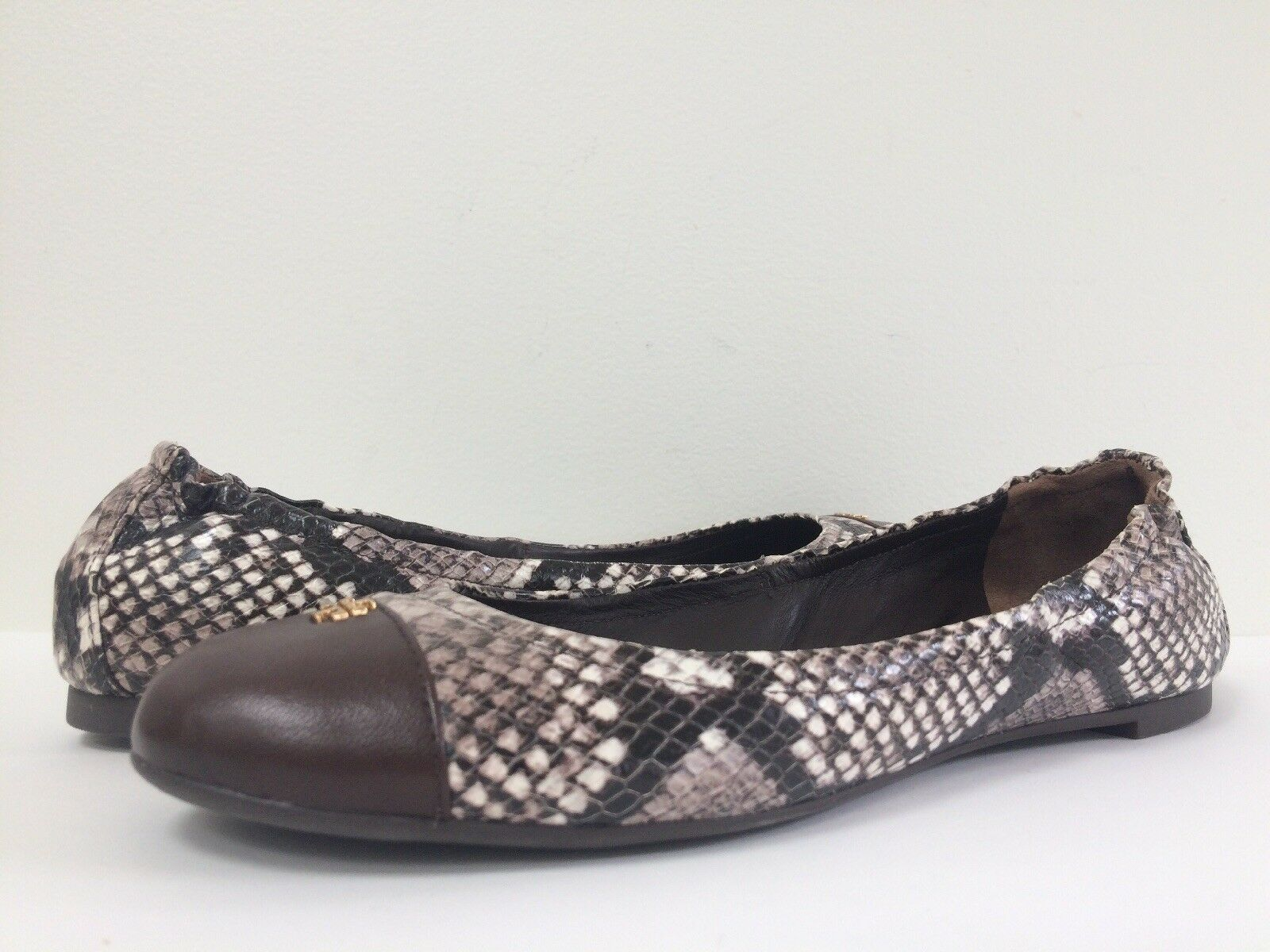 New Tory Burch 7.5M York Roccia Snake Print marron Multi Leather Ballet Flat 7.5M