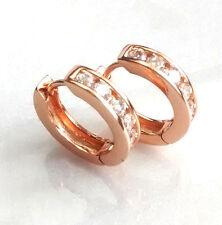 fashion1uk 18mm Clear Simulated Diamond Rose Gold Plated Huggie Hoop Earrings