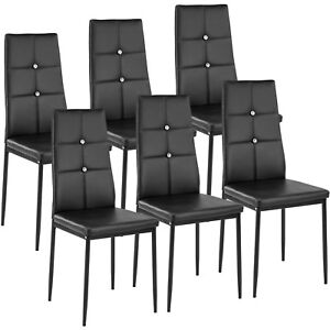 Sedie Per Sala Da Pranzo Moderne.Dettagli Su Set Di 6 Sedia Per Sala Da Pranzo Tavolo Cucina Eleganti Moderne Robusto Nero