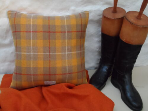 HARRIS TWEED Wool Modern YELLOW / ORANGE tartan Check Cushion Cover