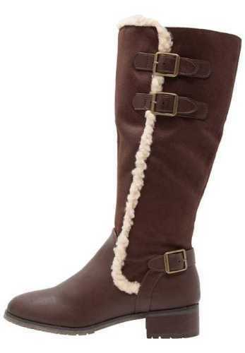 Evans Layla Womens E Wide Fit Brown Faux Suede Fleece Trim Knee High Boots