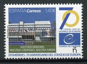SPAGNA-2019-Gomma-integra-non-linguellato-Consiglio-d-039-Europa-EU-70th-ANNIV-1v-Set-ARCHITETTURA