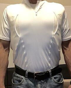 "2XL WHITE - Short Sleeve Mens Conceal Carry Tactical Holster Shirt 7"" zipper"