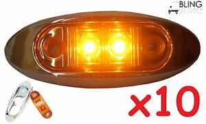 10-Amber-LED-Oval-2-034-w-Chrome-Bezel-Clearance-Side-Marker-Light-Surface-Mount