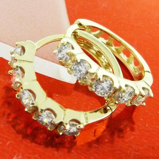 FS970 GENUINE 18K YELLOW G/F GOLD SOLID DIAMOND SIMULATED HUGGIE HOOP EARRINGS