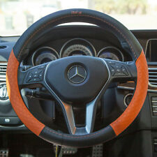 14.5 It58013 Real Leather Steering Wheel Cover Black+Orange Audi Porsche Benz