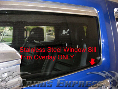 2003-2016 Hummer H2 4Pc Chrome Window Sill Trim Overlay Stainless Steel