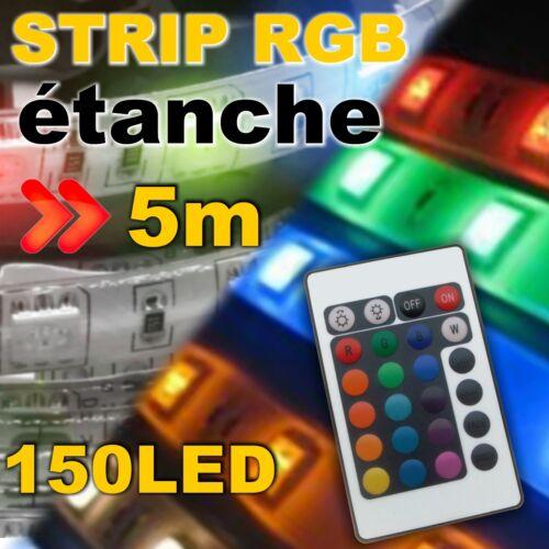 830# Ruban LED RGB 150LED étanche 5m contrôleur alim