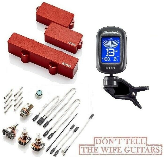 EMG PJHZ SET rot PASSIVE P & J BASS PRECISION JAZZ PICKUPS SET PJ HZ ( TUNER )