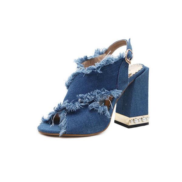 Decolte 11 cm eleganti denim blue tacco quadrato  sandali simil pelle 9932