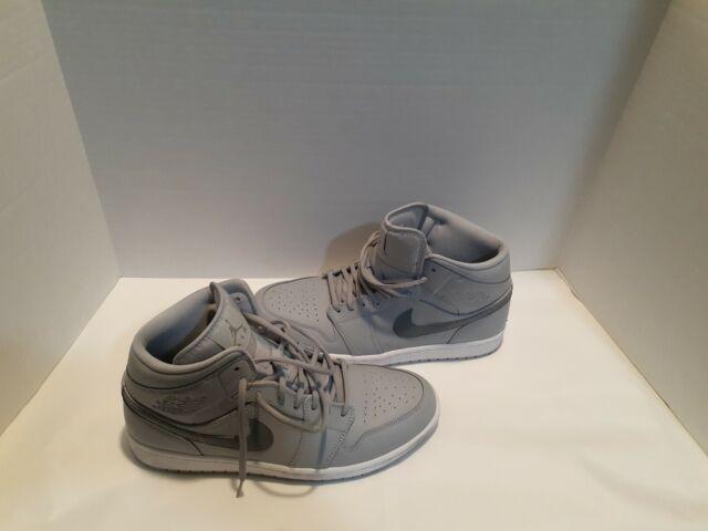 Nike Air Jordan 1 Mid 554724-033 Cool Wolf Gray Men Size 11