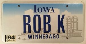 Iowa-vanity-ROB-K-ROBERT-license-plate-Robby-Robbie-Bob-Bobby-Winnebago-County