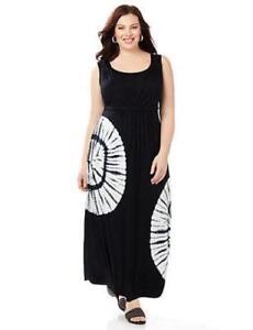 8bd92ec4e11 Details about Catherines Size 0X Black Tie-Dye Rayon Spandex Maxi Dress