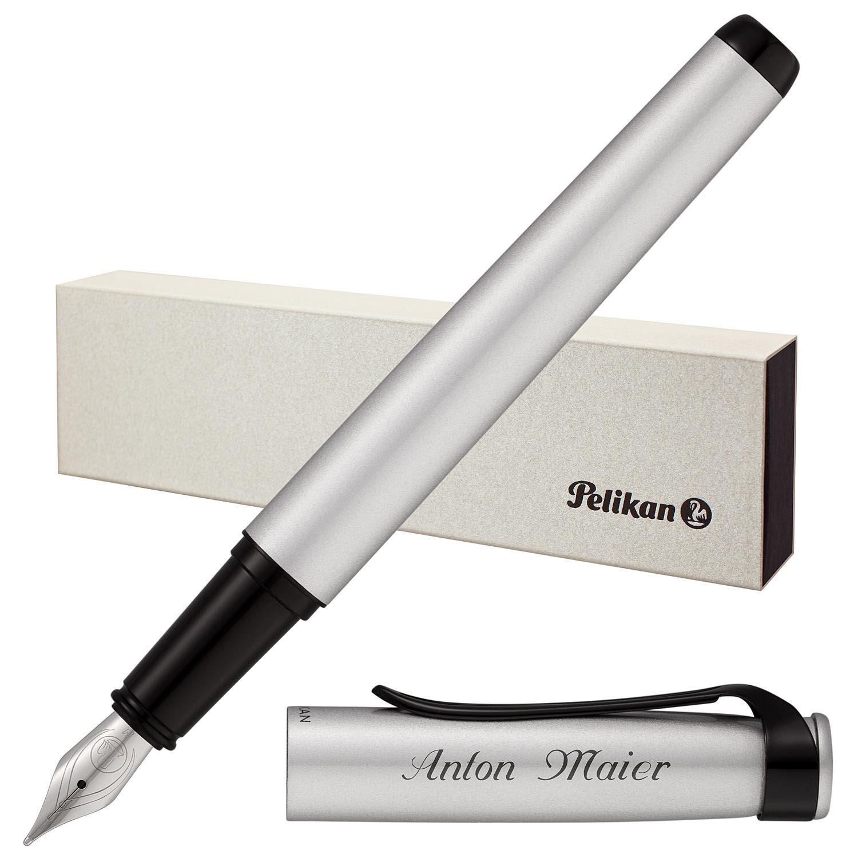 Pelikan Füllfederhalter Stola III Silber mit Laser-Gravur matt Beschläge schwarz | Elegante Und Stabile Verpackung  | Vogue  | Bekannt für seine gute Qualität
