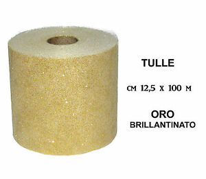 Roll-Coil-Veil-of-TULLE-for-decorations-12-5-x-100m-GOLD-GLITTER