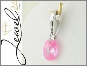 Damen-Charms-Anhaenger-echt-Silber-925-Sterling-rhodiniert-mit-Pink-Zirkonia