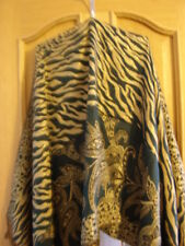 Wow Gorgeous Green&Gold Zebra Print & Paisley Reversible Scarf with Fringe ends
