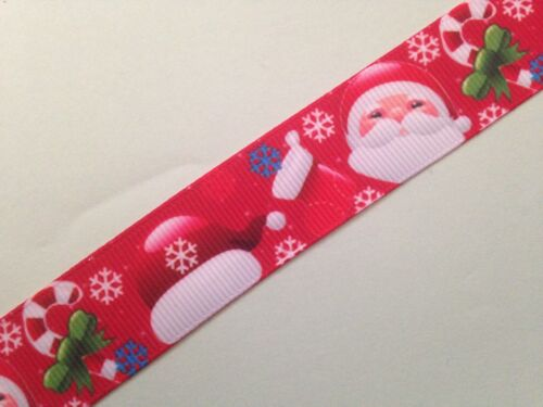 "Grosgrain Christmas Santa with Candy Cane Ribbon 7//8/"" 22mm"
