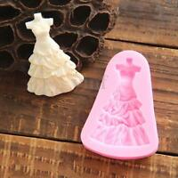Wedding Dress Skirt Princess Silicone Fondant Mould Cake Decor Icing Paste Mold