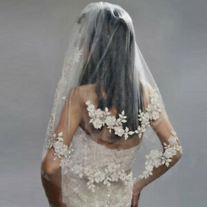 Elbow-Length-Wedding-Bridal-Veils-Flower-Lace-Edge-Beaded-White-Ivory-With-Comb