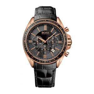 100-New-HUGO-BOSS-HB1513092-Sport-Black-Leather-Chronograph-Quartz-Men-039-s-Watch