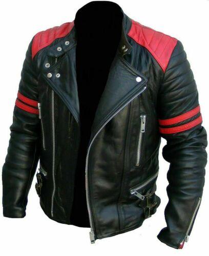 Homme Design classique Brando Noir Rouge Biker en Cuir Véritable Veste VINTAGE